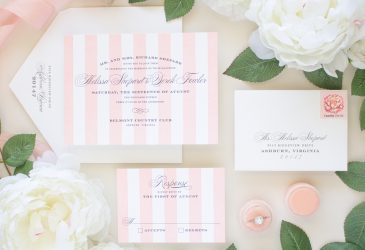garden wedding invitations with pink stripes