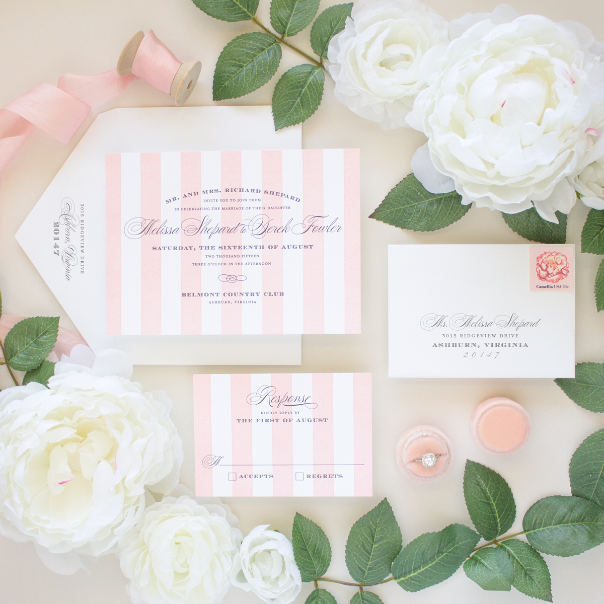 pink stripes elegant letterpress invitations