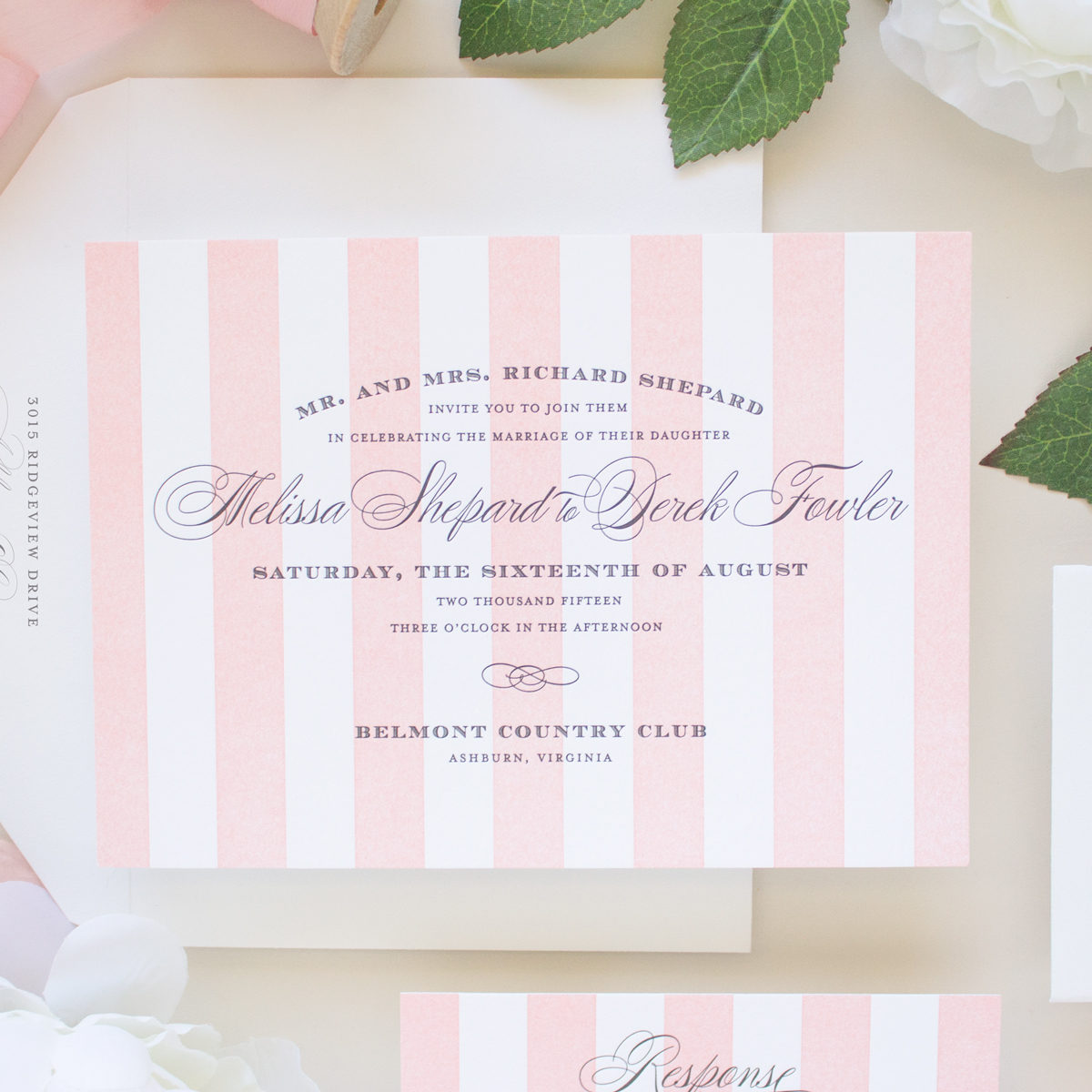 striped letterpress invitations