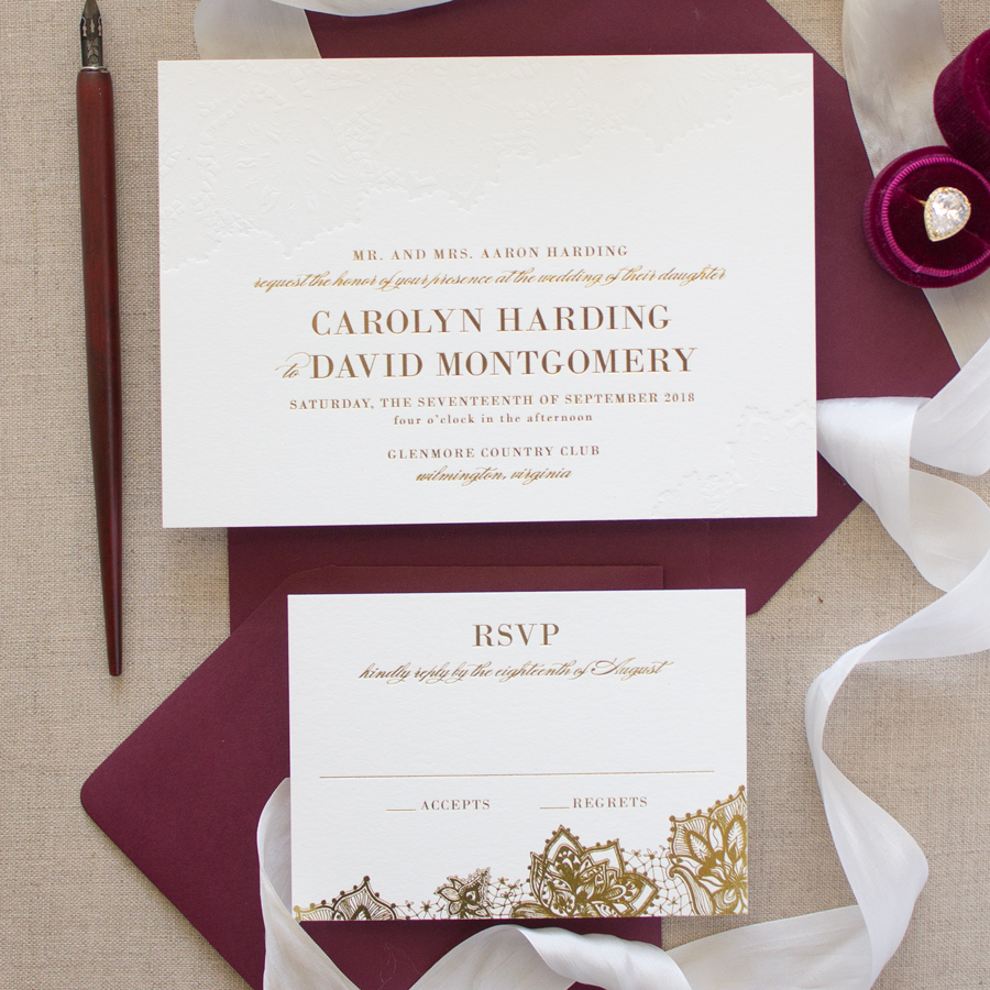 Delicate | Gold Foil Stamped Wedding Invitations - Banter and Charm