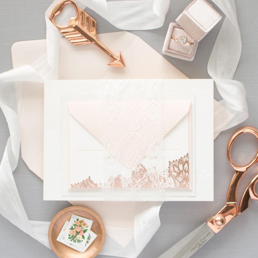 lace wrap wedding invitations