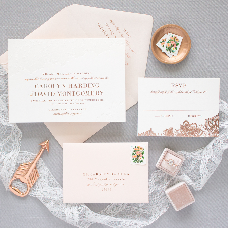 Rose Gold Wedding Invitations | Delicate
