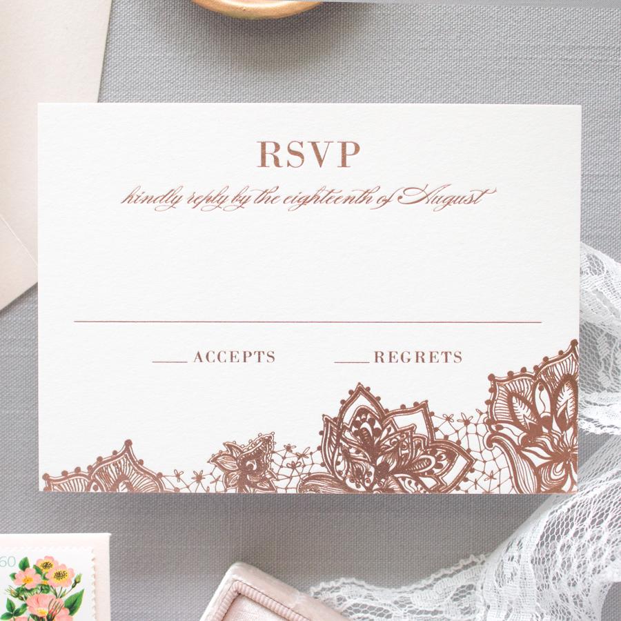 rose gold invitation suite