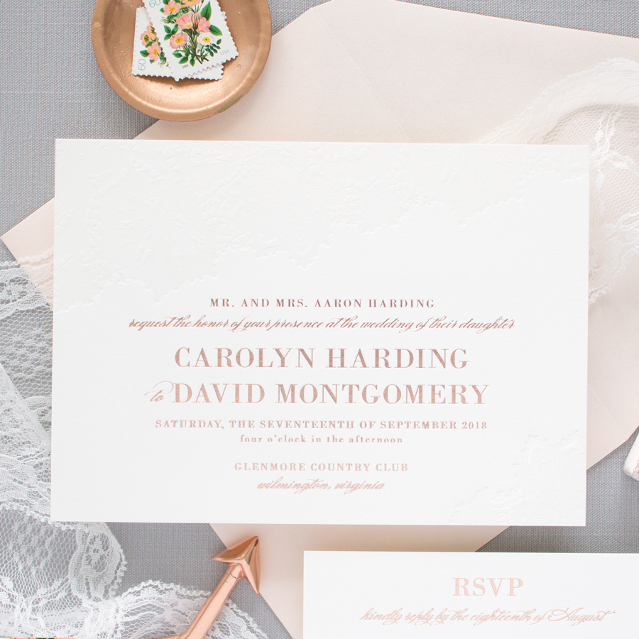 Delicate rose gold wedding invitations banter and charm rose gold foil and blind letterpress wedding invitations junglespirit Image collections