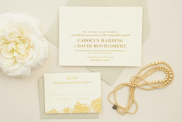 classic wedding invitations in gold foil and blind letterpress