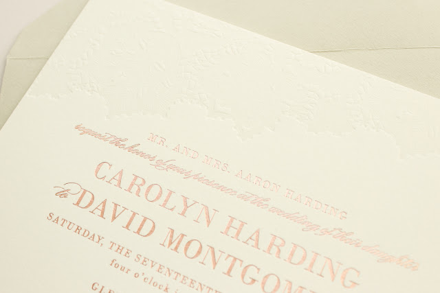 blind letterpress and rose gold foil invitation