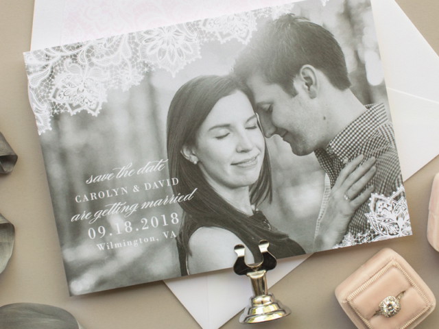 Delicate Lace Photo Save the Date