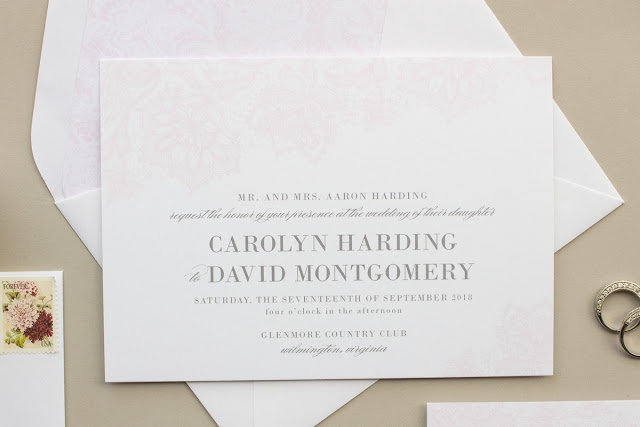 invitation for gray and pink weddings