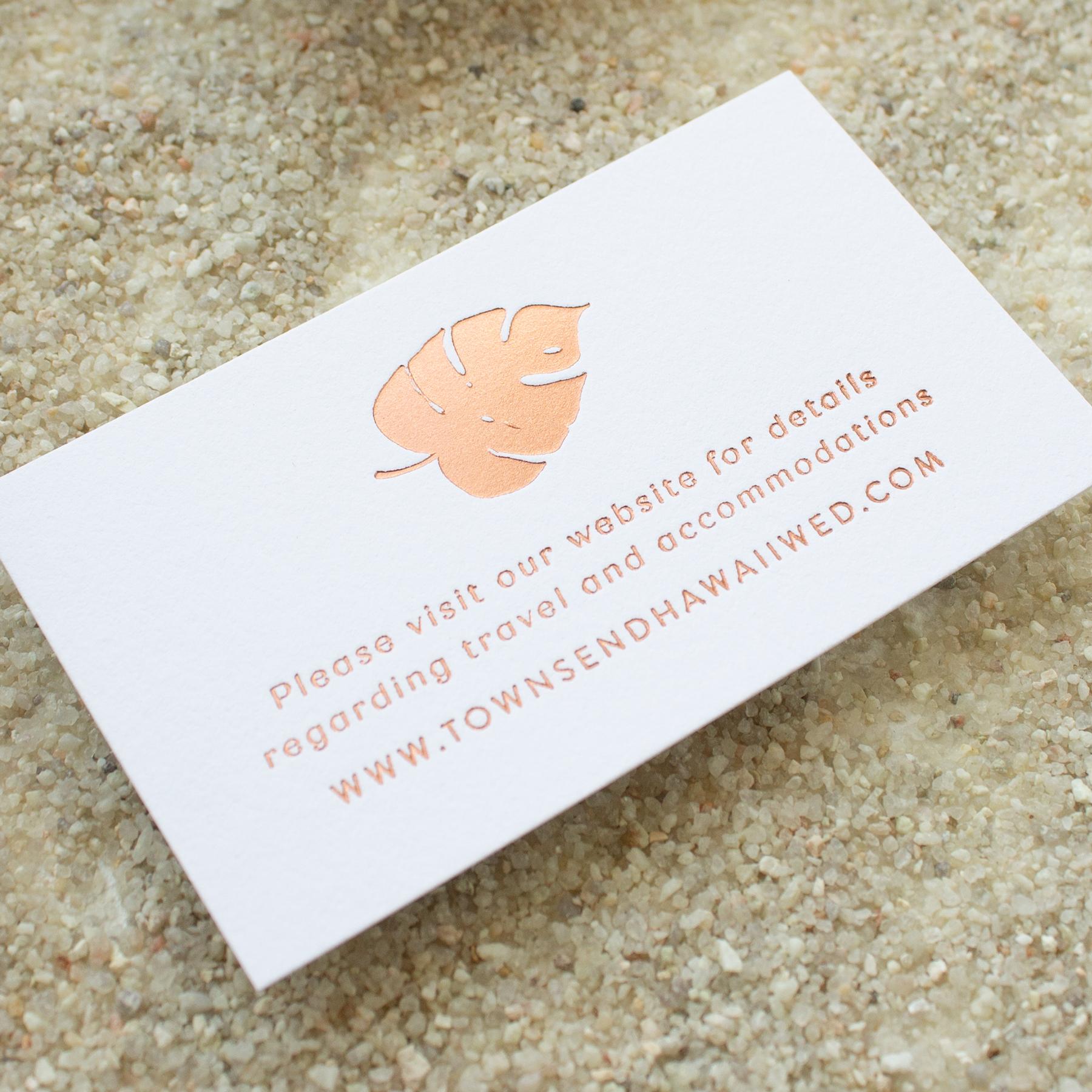 detail card for destination wedding