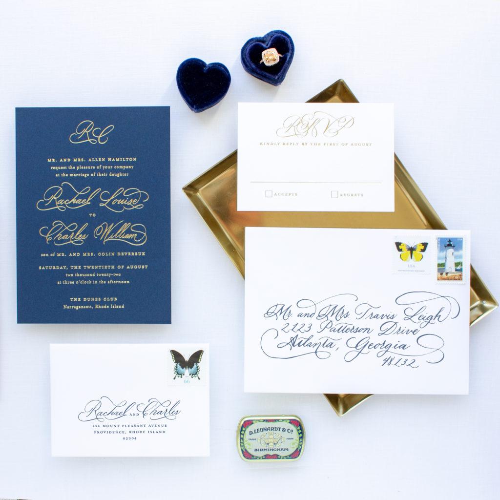 dunes club rhode island wedding invitation