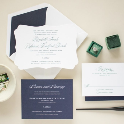 formal invitation suite in letterpress