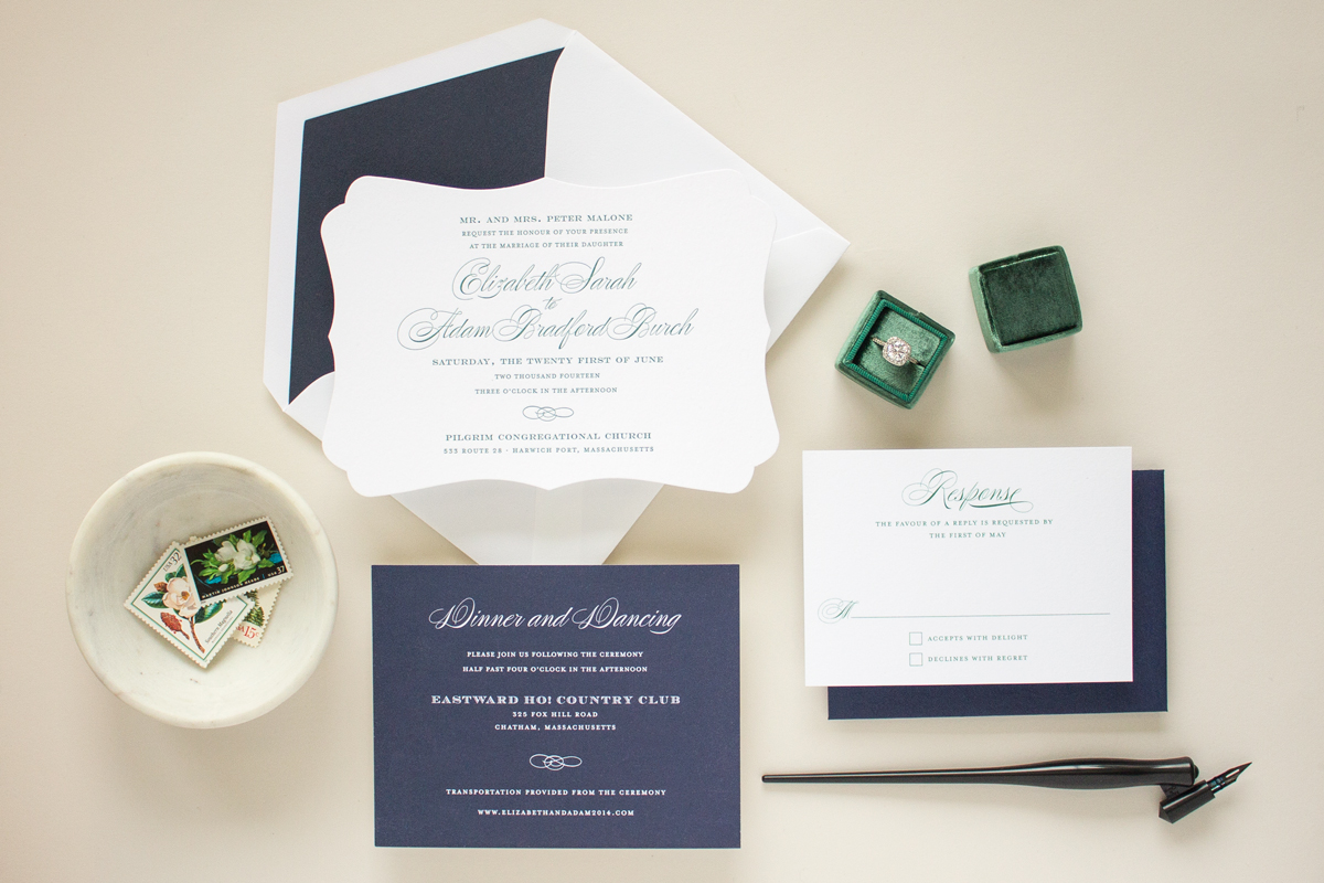 formal invitation suite in letterpress