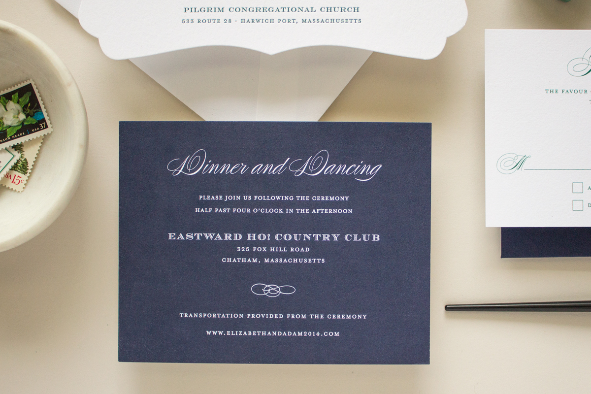 navy reception card for wedding