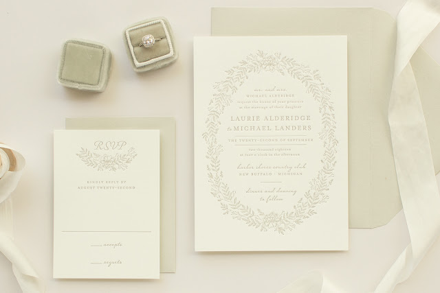 letterpress wedding invitation in taupe