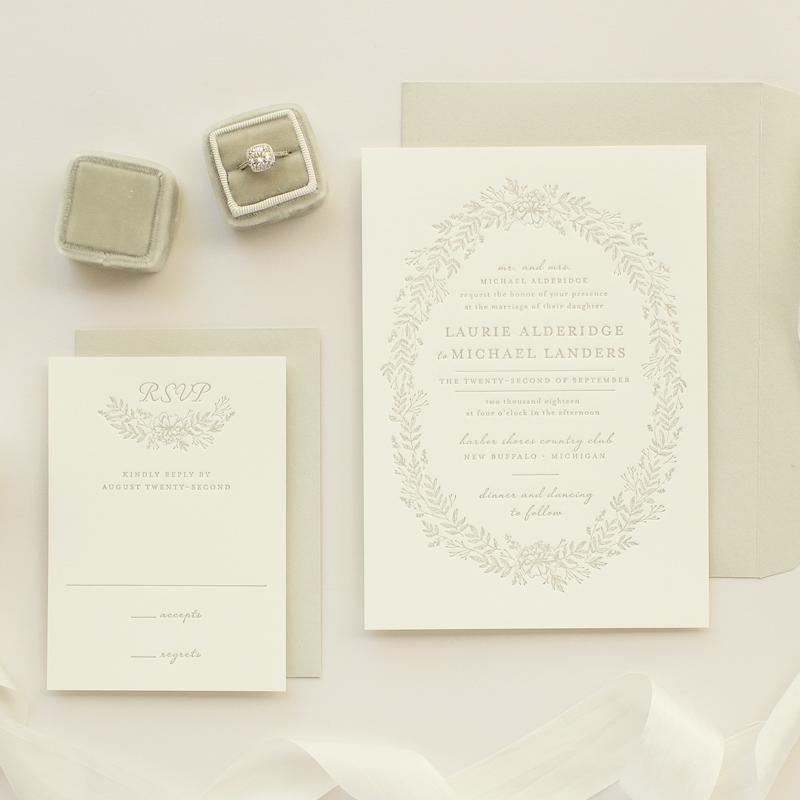 letterpress invitations in neutral colors