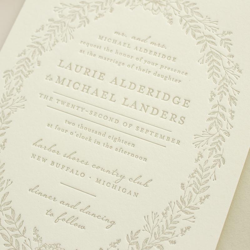 floral wreath letterpress invitations