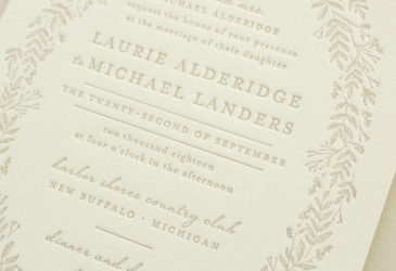 letterpress invitations with foliage