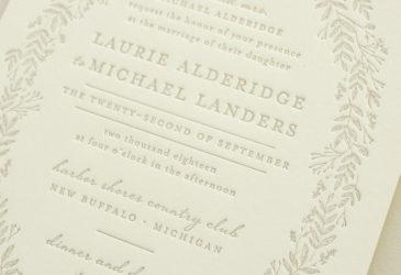 letterpress invitations with foliage