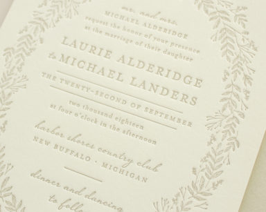 Enamored | Letterpress Invitations with Foliage
