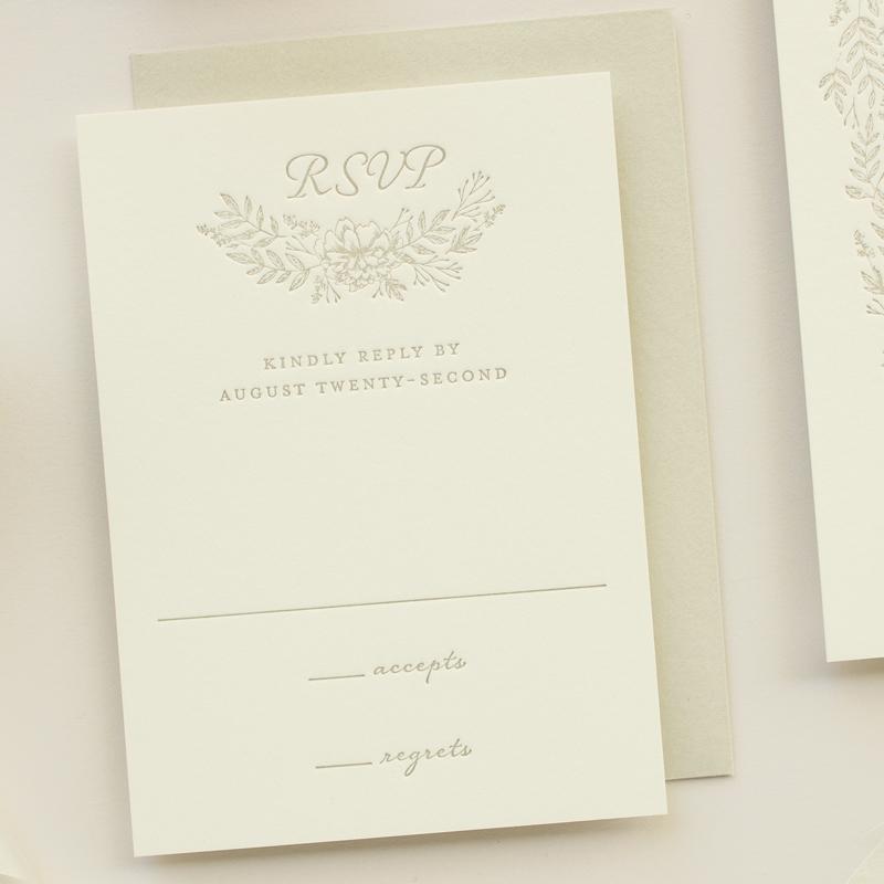 response card for letterpress invitation suite