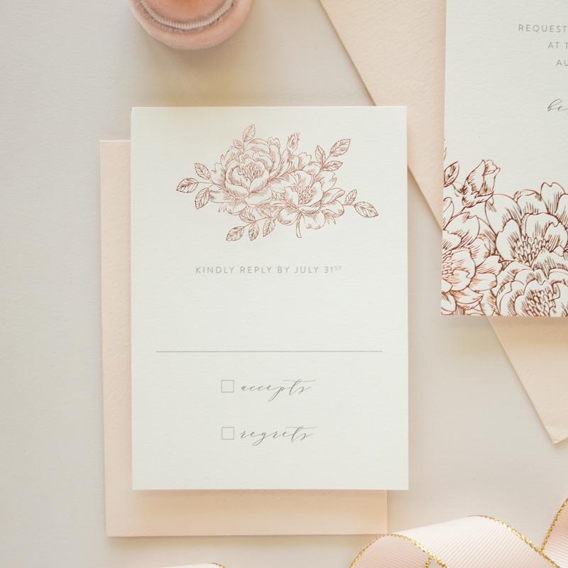 floral wedding invitation rsvp