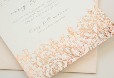rose gold foil pressed invitations