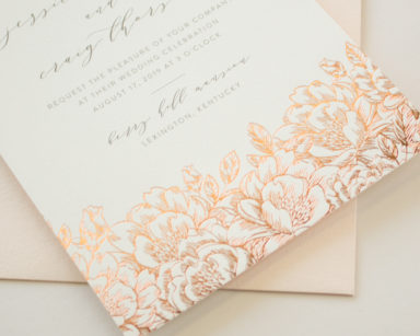 Rose Gold Foil Pressed Invitations with Flowers | Enchanted