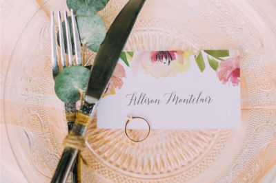 place card with watercolor flowers