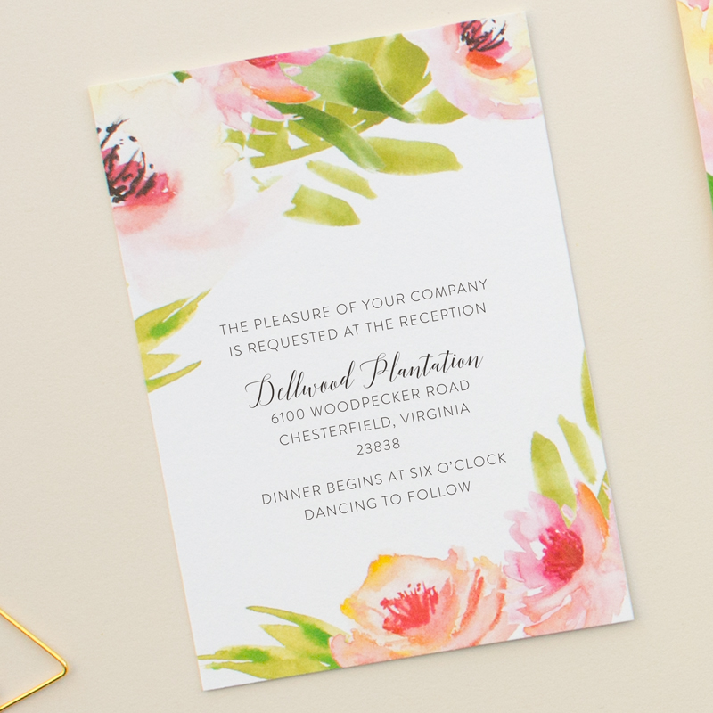 reception card for watercolor invitation suite