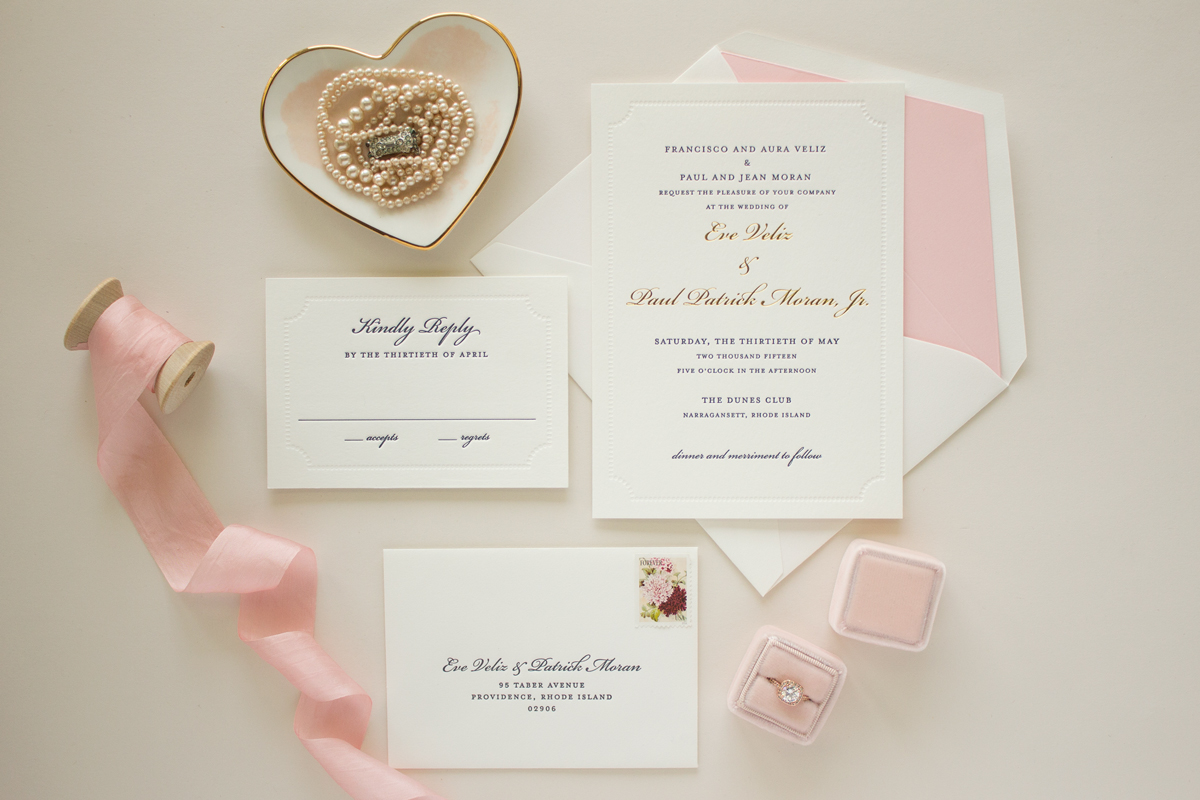 classic letterpress and foil invitations