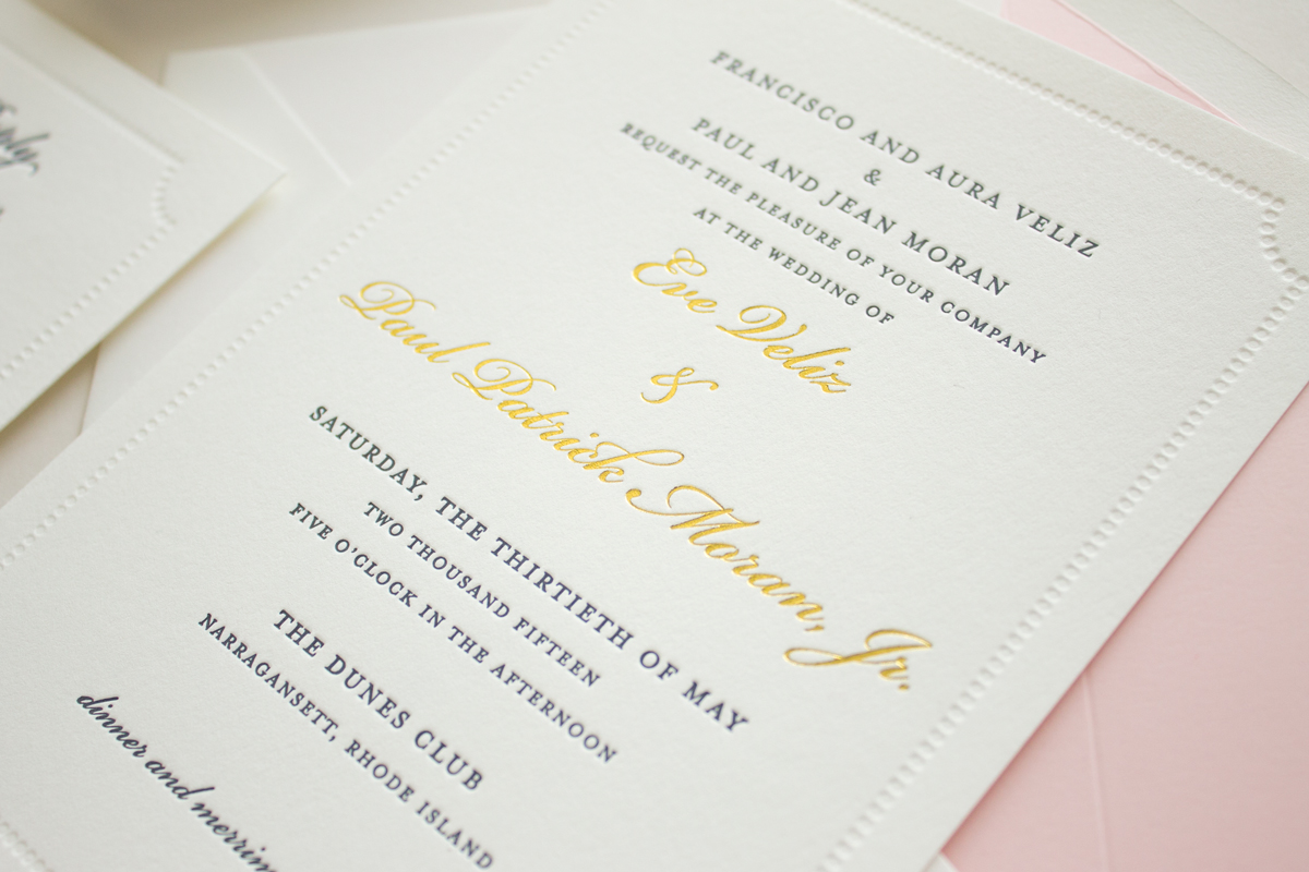 wedding invitation with gold foil names