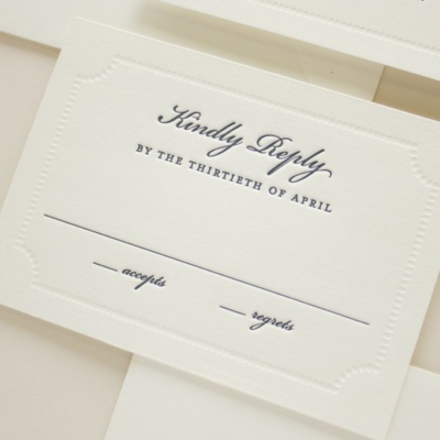 response card with blind letterpress