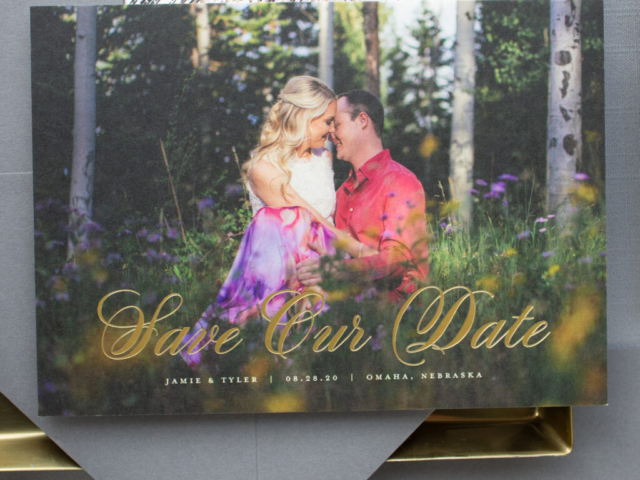 Gold Foil Stamp Photo Save the Date