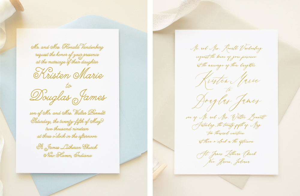 font comparison in wedding invitations