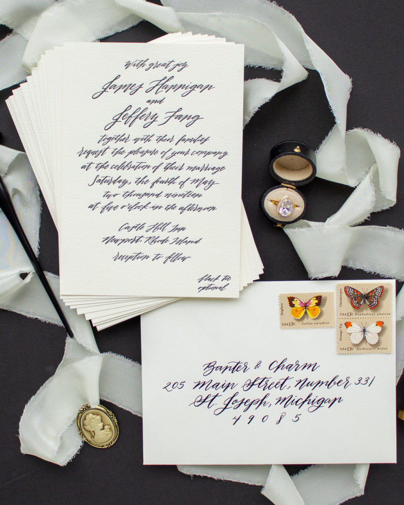 modern calligraphy invitations for Rhode Island wedding
