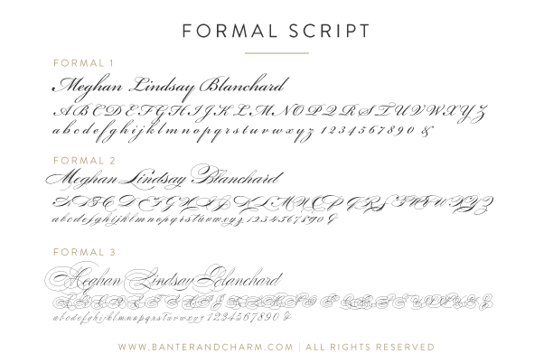 formal script fonts for wedding invitations