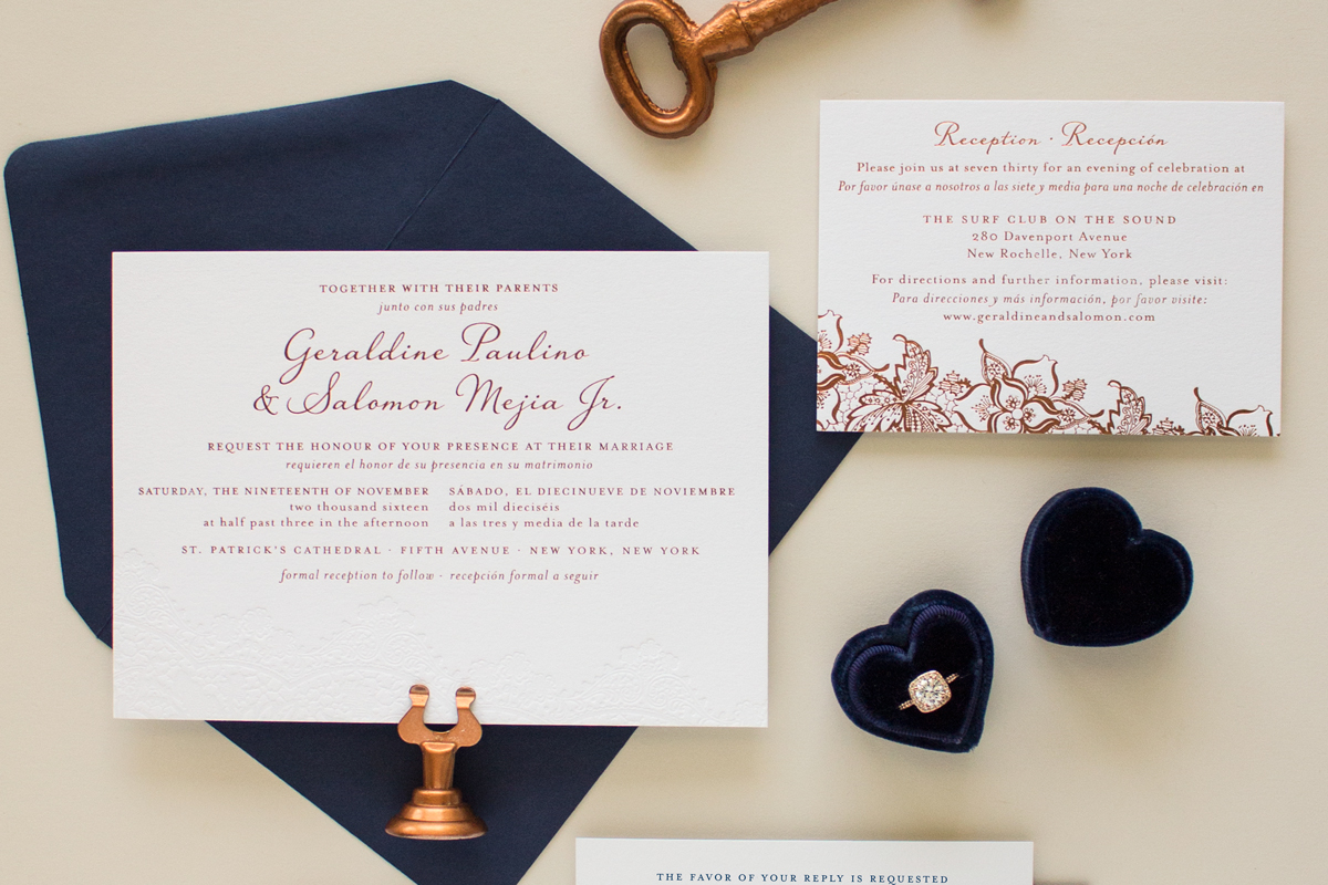 copper and navy custom invitation