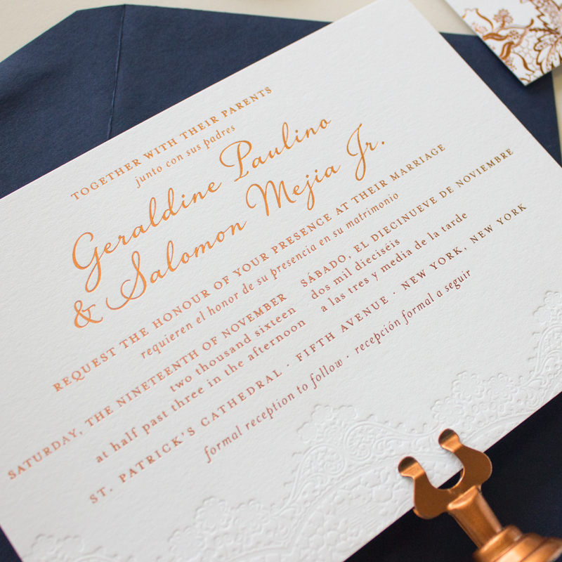 bilingual wedding invitations in copper foil