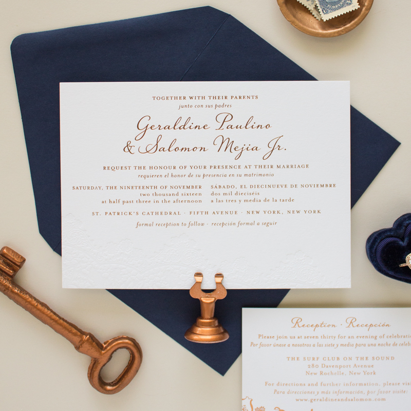 copper foil stamped wedding invitations