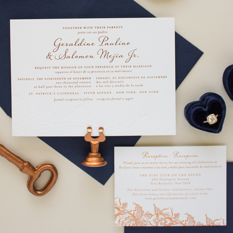 copper and navy invitation suite