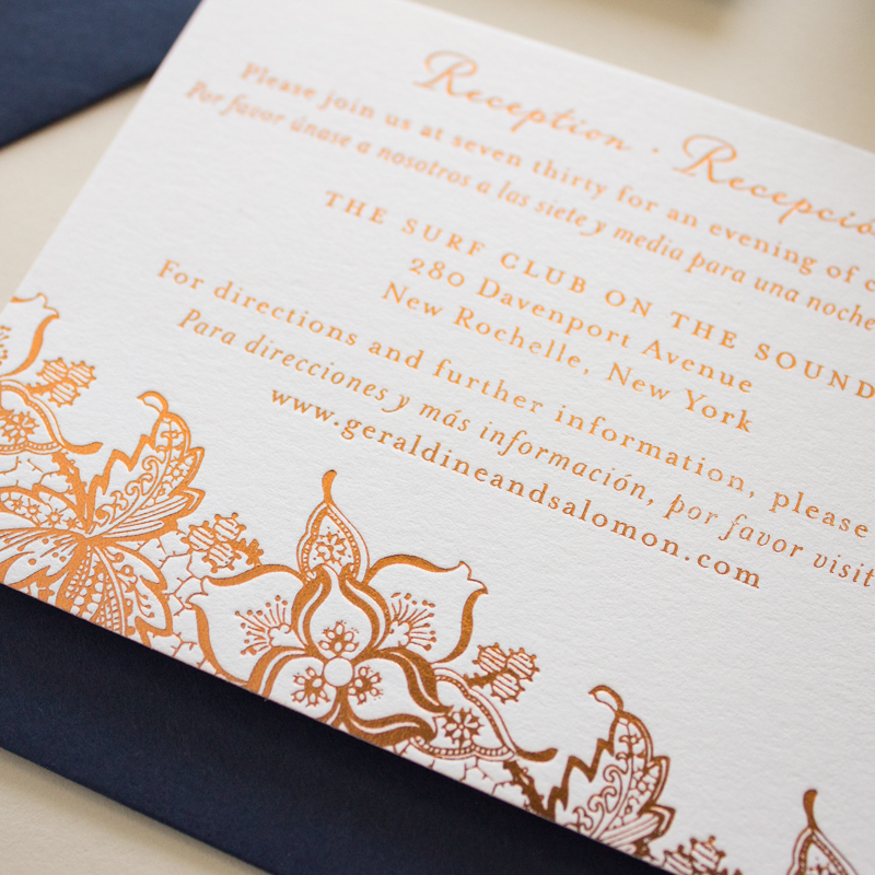 copper foil stamping and navy wedding invitations