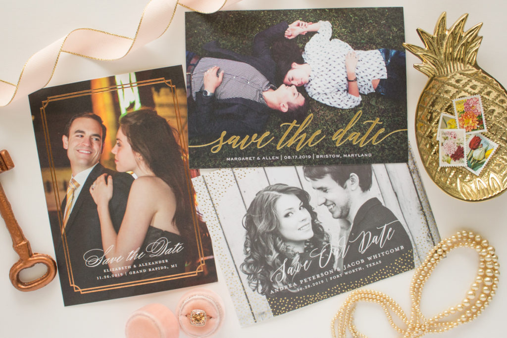 foil stamp save the date cards