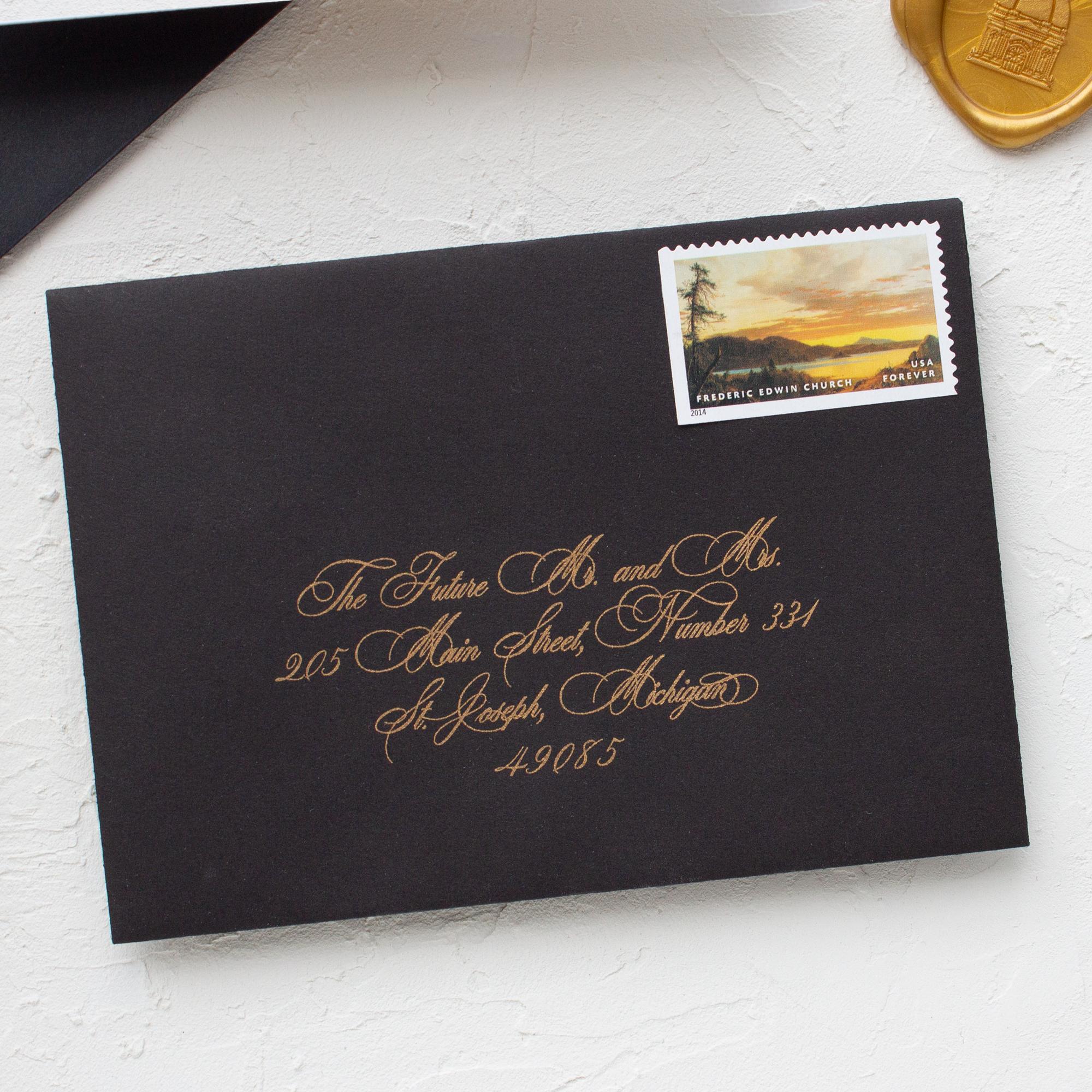 gold envelope addressing