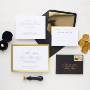 Gold Foil Border Wedding Invitations | Bordered