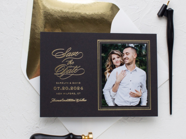gold foil luxury wedding save the date cards