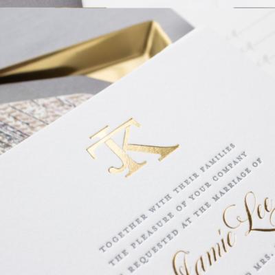 Gold foil monogram wedding invitation
