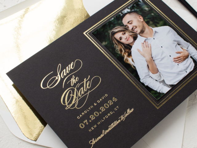 gold foil photo save the date cards