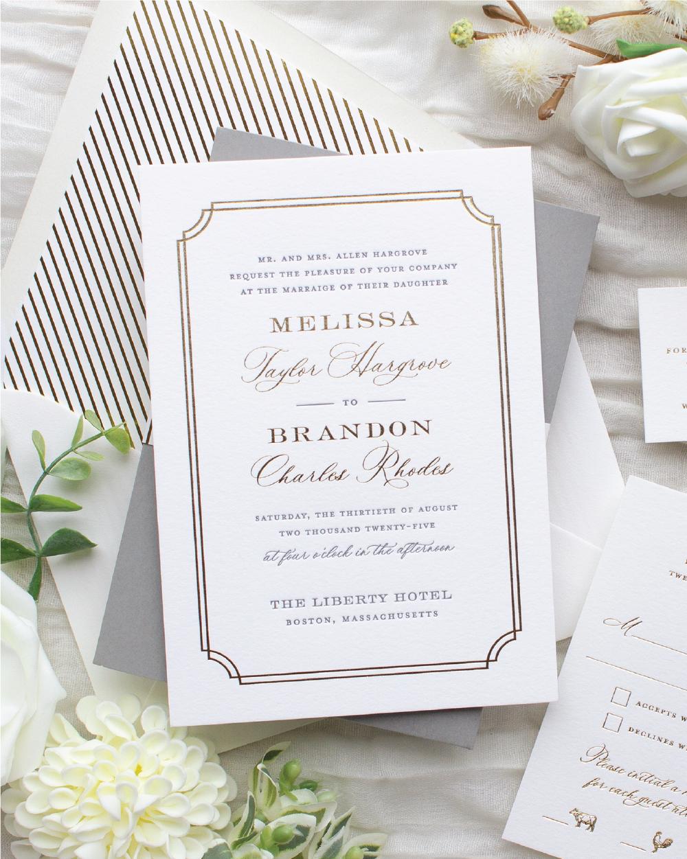gold foil stamped invitation