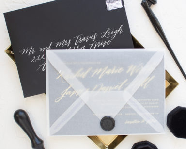 Black and Gold Wedding Invitations | Soiree