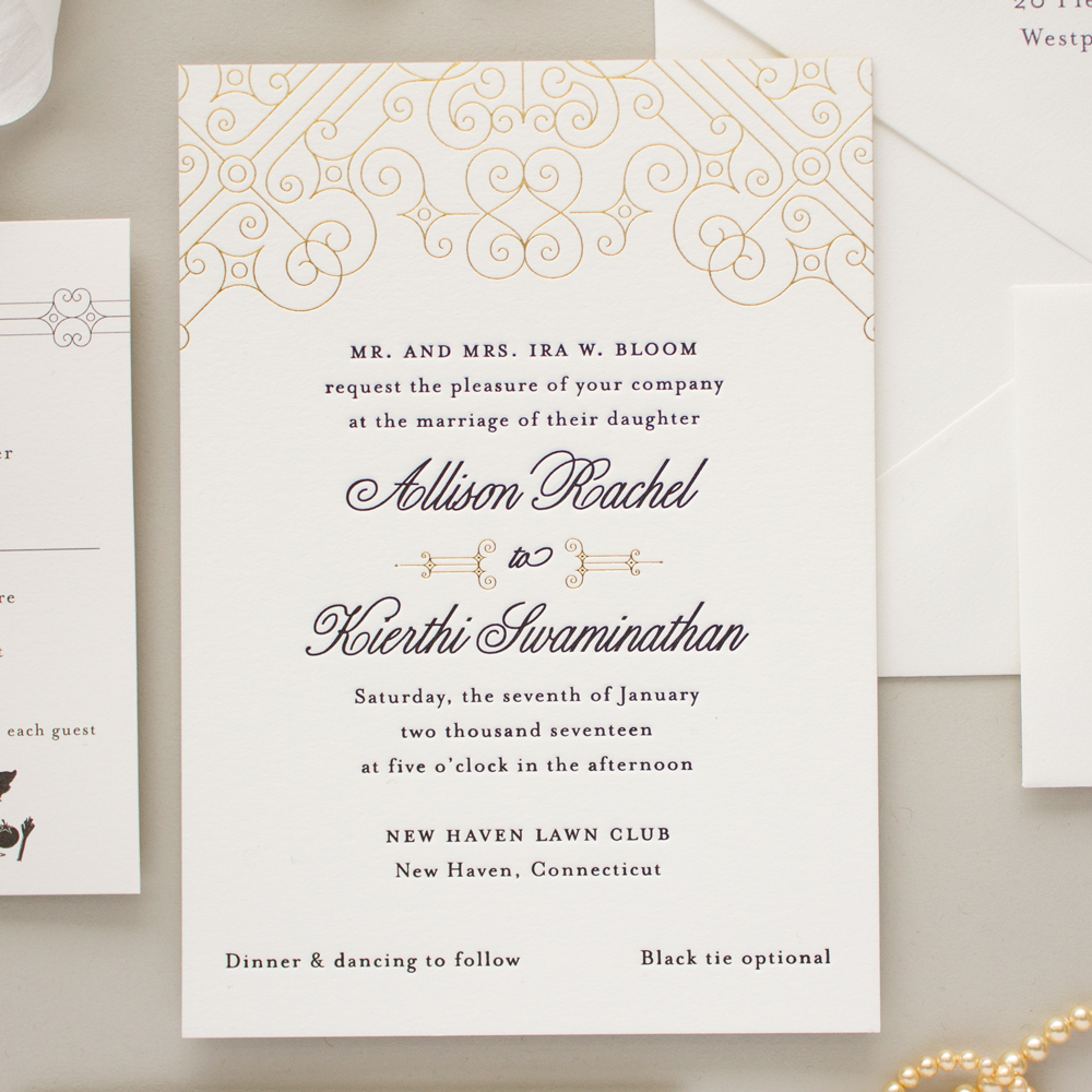 black and gold foil custom wedding invitations